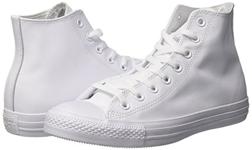 Converse Mens Unisex Chuck Taylor All Star Leather Hi Fashion Sneaker Shoe, White Monochrome, 7