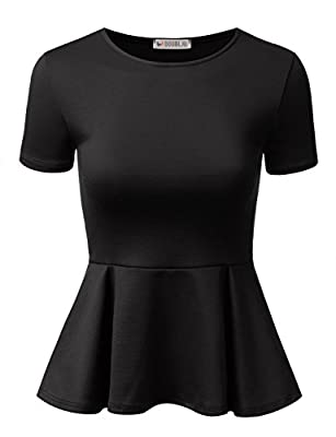 Doublju Stretchy Flare Peplum Blouse Tops for Women with Plus Size