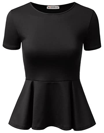 9d8d647a02f Doublju Stretchy Flare Peplum Blouse Tops for Women with Plus Size