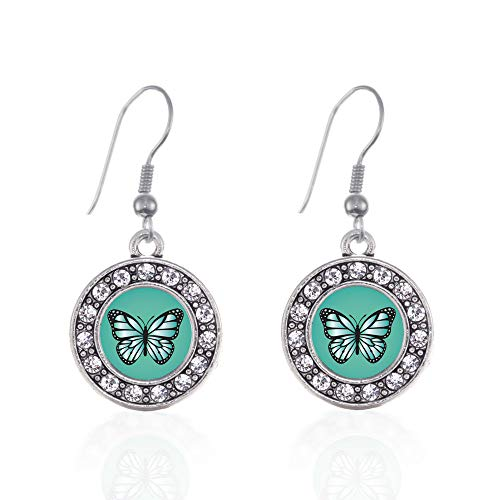 Inspired Silver - Teal Butterfly Charm Earrings for Women - Silver Circle Charm French Hook Drop Earrings with Cubic Zirconia Jewelry - Pave Butterfly Charm