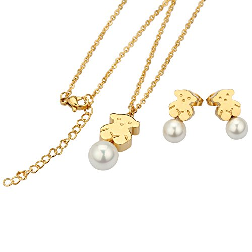 URs 18K Gold Plated Stainless Steel Women's Teddy Bear Necklace Pendant & Stud Earrings W/Glossy Pearl