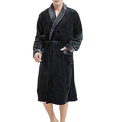 SSYUNO Men's Fleece Robe Soft Plush Bathrobe Long Thicken Warm Kimono Shawl Collar One Piece Homewear with Belt Beige