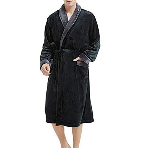 GREFER Men's Robe Lightweight Warm Plush Lengthened Shawl Bathrobe Home Clothes Dressing Gowns Oversize -