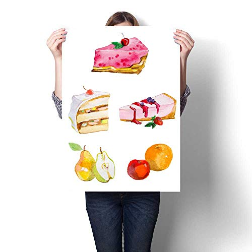 Anshesix Canvas Wall Art Watercolor Painting Sweets and Fruits Cakes and cheesecakes Frameless Canvas Texture decoration24 x32