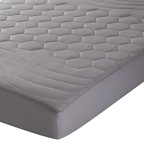 Bedsure Quilted Mattress Pad King Grey Fitted Sheet Mattress Cover, Super Soft - Hypoallergenic, Luxury Mattress Protector Stretches up to 18 Inches Deep