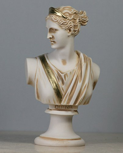 (greekartshop Artemis Diana Bust Head Greek Roman Goddess Statue Alabaster Sculpture 5.91΄΄)