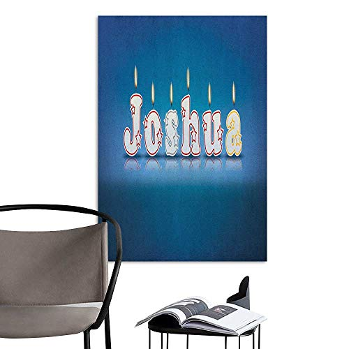 Alexandear Canvas Wall Art Joshua Festive Font Design as Burning Candles Surprise Birthday Party Celebration Blue and Multicolor for Kids Rooms Boy Room W32 x H48 -