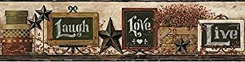 (York Wallcoverings Keepsakes Country Chalkboard Shelf Border Removable Wallpaper, Beige, Black, Red, Taupe, Brown,)
