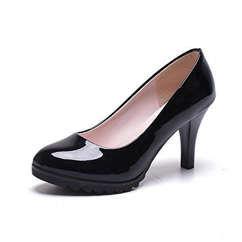 TMKOO 2017 nuevos zapatos de tacón alto gruesos cabeza redonda con grandes yardas Sra solos zapatos cómodos carrera de tacones altos Negro