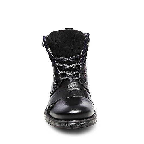 Steve Madden Mens Gleek Leren Vouw-over Casual Laarzen Zwart Leer