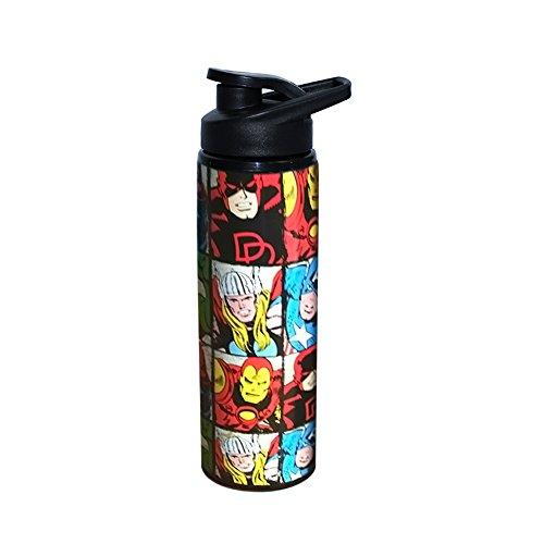 Silver Buffalo MV9189ST Marvel Grid Stainless Steel Water Bottle, 25-oz