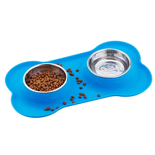 Super Design Double Bowl Pet Feeder Stainless Steel Food Water Bowls with No Spill Silicone Mat for Dogs Cats Small Blue