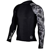 HugeSports Men's Splice UV Sun Protection UPF 50+ Crew Neck Skins Rash Guard