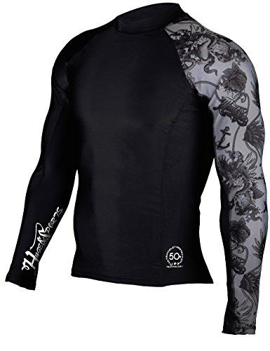 Huge Sports Mens Splice Uv Sun Protection Upf 50  Crew Neck Skins Rash Guard Long Sleeves  Black  2Xl