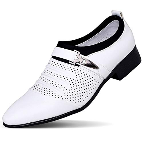Loafers Oxford Men's Dress Shoes Buckled Formal Wedding Shoes for Men,White,38EU=7US-Men