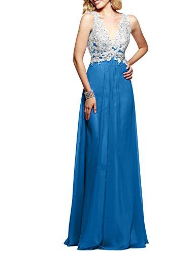 Spitze Langes Abendkleider Weiss Charmant Damen Promkleider Festlich Blau V Ausschnitt Ballkleider Partykleider qIWOT