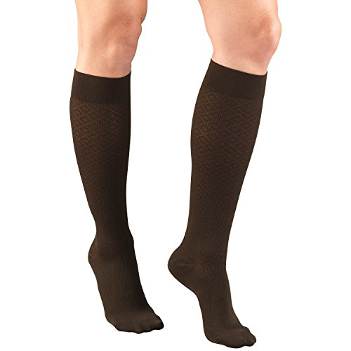 Truform Women's 15-20 mmHg Compression Dress Socks with Diamond Pattern, Brown, (Diamond Pattern Trouser Socks)