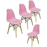 Liya Eames (Pembe) Ahşap Ayaklı Plastik Sandalye (4'lü Set) - BEDAVA KARGO