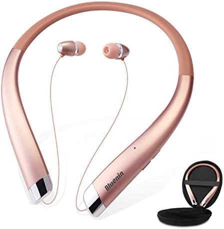 [해외]Bluetooth Headphones Bluenin Wireless Neckband HeadsetAuto Retractable Earbuds Sports Sweatproof Noise Cancelling Stereo EarphonesMic (Rose Gold) / Bluetooth Headphones Bluenin Wireless Neckband HeadsetAuto Retractable Earbuds Spor...