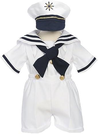 6M to 4 Little Boys Sailor Suit 4 Piece Satin Shirt with Shorts