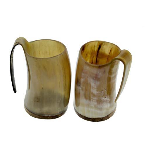 Rainbow Game of Thrones Animal Wine Beer Beaker Stein Tankard Genuine Handcrafted Authentic Medieval Drinking Horn Mug Glass 5 Inch (Set of 2)