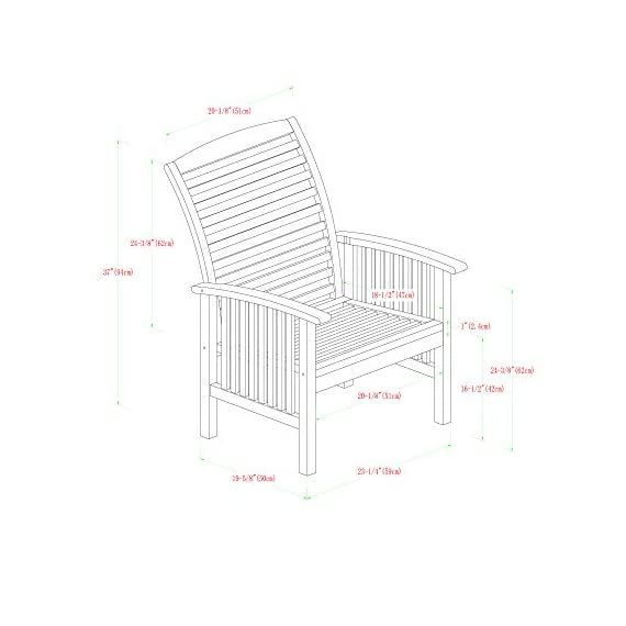 """Walker Edison Furniture Company Solid Acacia Wood Patio Chairs (Set of 2) - Brown - Dimensions: 37"""" H x 24"""" L x 20"""" W Made with solid acacia wood , perfect for outdoor use Includes 2 chairs. Each chair supports up to 250 lbs. - patio-furniture, patio-chairs, patio - 41GSgWsdzWL. SS570  -"""