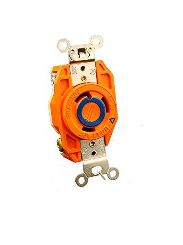 Leviton 2620-IG 30 Amp, 250 Volt, Flush Mounting Locking Receptacle, Industrial Grade, Isolated Ground, V-0-MAX, Orange