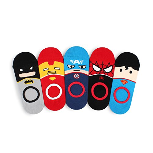 Intype Marvel Heroes DC Comics Licensed Socks Collection Pouch (Women's No Show 5pairs(NE))