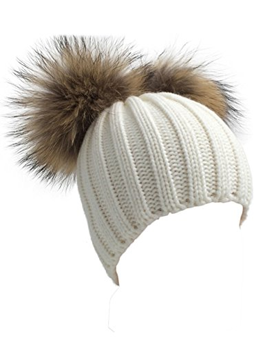XWDA Women's Knitted Raccoon Fur Double Pom Beanie Hat (White)
