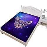 Jessy Home Fittied Sheet Queen Canadian Hairless Cat 3D Bedding Bedroom Decor Gifts for Girls,Purple
