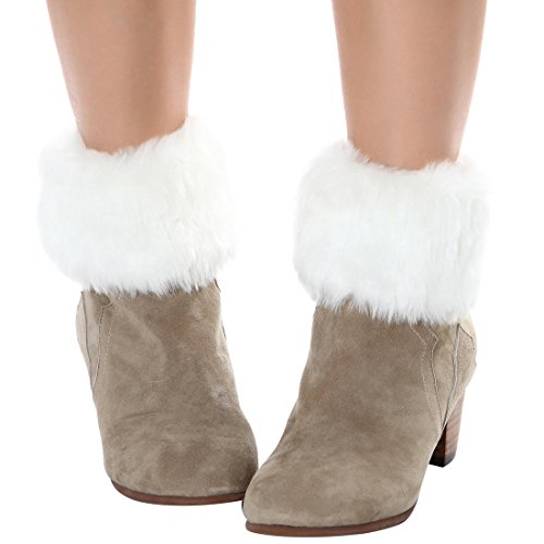 FAYBOX Women Winter Faux Fur Boot Cuff Knitting Leg Warmers Short WHT