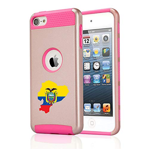 Shockproof Impact Hard Soft Case Cover for Apple (iPod Touch 5th / 6th) Ecuador Ecuadorian Flag (Rose Gold-Hot Pink)