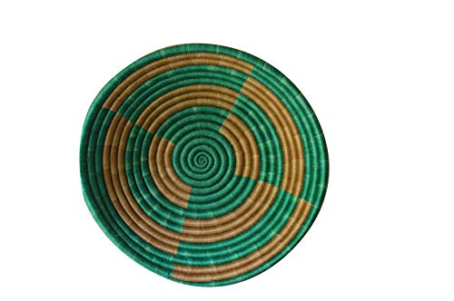 - African Gift Shop| Rwanda Basket Bowl | Designer Green Color Fruit Basket Bowl | Size 12inches | Handcrafted Weaved Basket Bowl| Woven Bowl|Sisal & Sweetgrass Basket | Round Basket (Jungle Green)