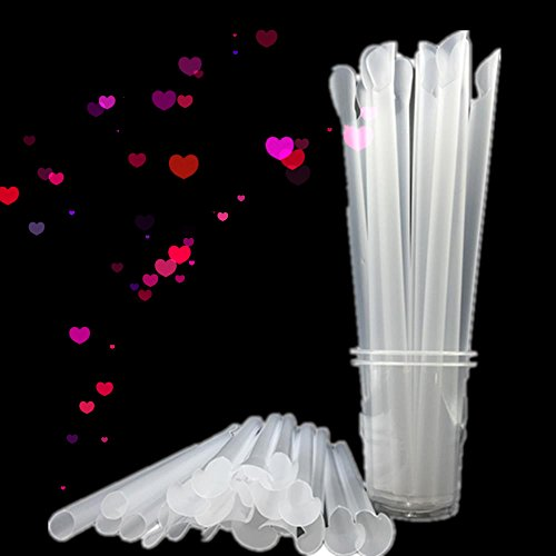 Disposable Spoon Straws Straight Plastic Drinking Straws For Shaved Ice or Snow Cones Party Drinks 100 Pack White