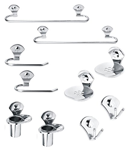 Handy Stainless Steel Bathroom sets pack of 2 set   Towel rod | Towel Ring | Toothbrush Holder | soap dish | Rob hook