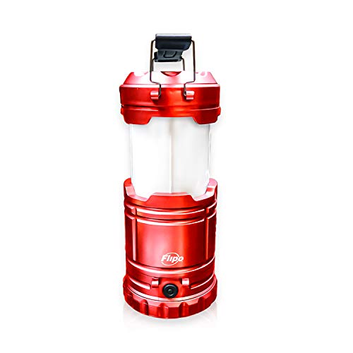 Slide-N-Glo 3-IN-1 Collapsible LED Lamp, Flashlight and Realistic Flickering Flame Effect Lantern - For Indoor Use To Outdoor Camping - Survival Kit for Emergency (Hurricane) (Red)