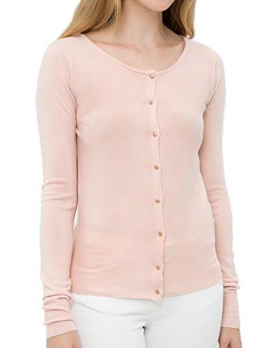 Breeze Womens Sweater- Casual Round Neck Button Front Long Sleeve Soft Knit Cardigan For Women - Pink Rose, X-Large - Pink Long Sleeve Button Front