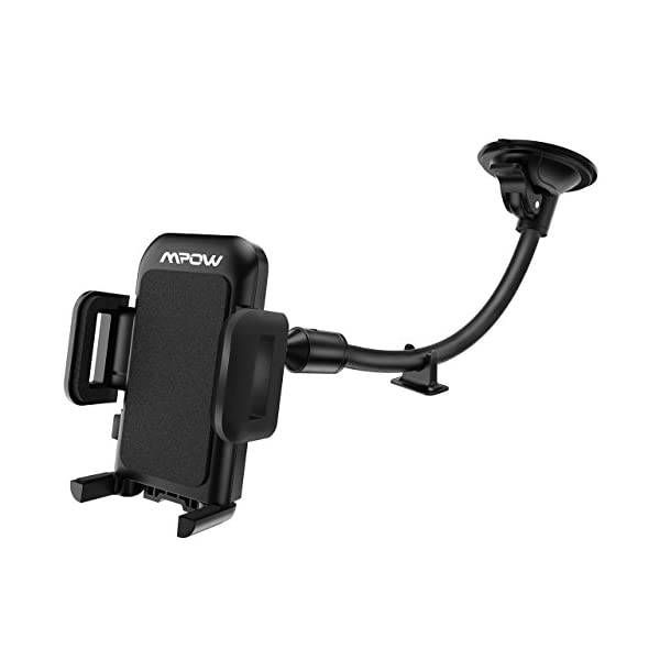 Mpow 033 Car Phone Mount, Windshield Long Arm Car Phone Holder With One Button Design And Anti Skid Base Car Cradle Compatible IPhone Xs MAX,Xs,Xr,X,8,7,7P,6s, Galaxy S10,S9,S8,Google,LG,HTC(Black)