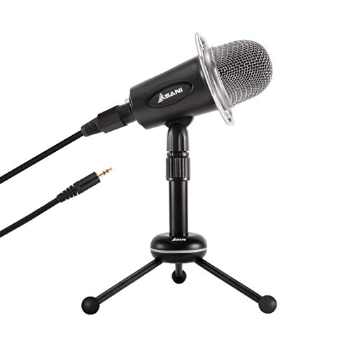 Condenser Microphone for Computer with Tripod Mic Stand, Plug and Play on Windows, Mac, iPhone and Android, 3.5mm Desktop Microphone for YouTube, Podcast, Streaming, Gaming, Recording, Conferencing