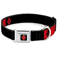 "Buckle-Down DC-WJK007-S Dog Collar Seatbelt Buckle-Harley Quinn/Diamonds Black/Red/White, 1""x9-15"""