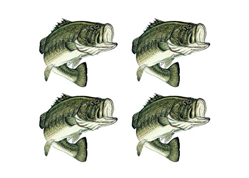 4X Bass Fish Sticker Decal Fishing Bumper Sticker Fish 4x4 Inch Auto Decal Car Truck Boat RV Real Life Rod Tackle Box