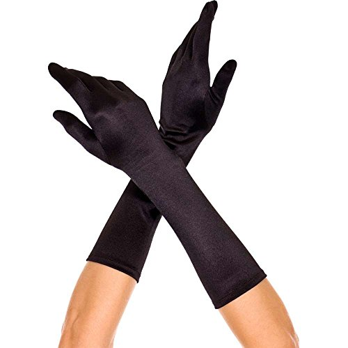 MUSIC LEGS Women's Elbow Length Satin Gloves, Black, One Size (Black Sexy Costumes)