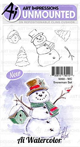 Watercolor Snowman - Art Impressions Watercolor Cling Rubber Stamps-Snowman