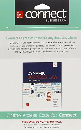 Connect 1 Semester Access Card for Dynamic Business Law:  The Essentials