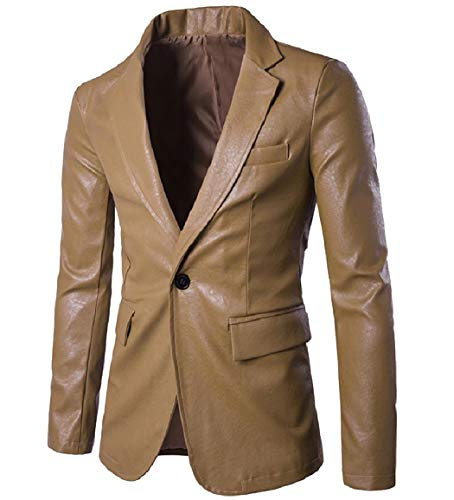 RDHOPE-Men Loose One Button Notched Collar Leather Blazer Jacket Suits Khaki XL