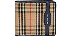 Burberry Men S Check Bifold Wallet With Leather Trim