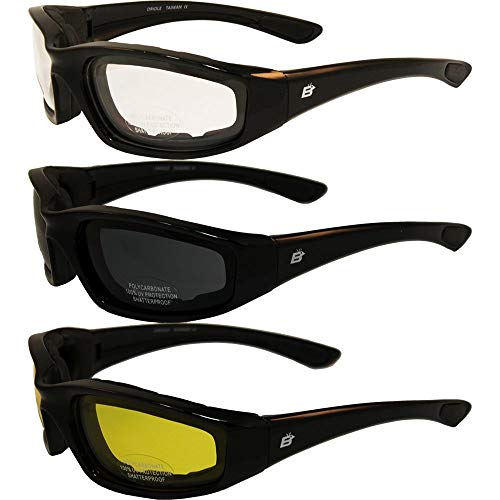 3 PAIRS: PADDED MOTORCYCLE RIDING GLASSES - DAY NIGHT DAWN DUSK SMOKED CLEAR YELLOW Shatterproof Polycarbonate Lenses Glossy black frame UV400 Filter for Maximum UV Protection Scratch Resistant Coating Rubber Ear Pads