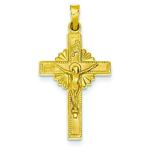Pendentif creux Crucifix INRI 14 carats-Dimensions :  32,7 x 17,2 mm-JewelryWeb
