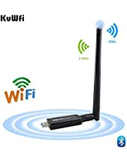 KuWFi Dual Band Bluetooth 4.1 WiFi USB Adapter, Wireless AC 1200Mbps 5GHz WiFi USB 3.0 LAN Adapter High Gain Antenna Network Card for Windows Linux Systems