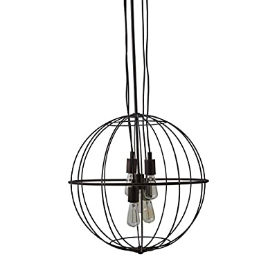 """Stone & Beam Industrial Chandelier With Bulbs, 35.5""""-47.5"""" H, Oil-Rubbed Bronze"""